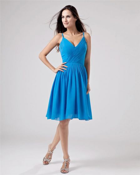 Chiffon V-neck Drape Handmade Flower Knee High Bridesmaid Dresses