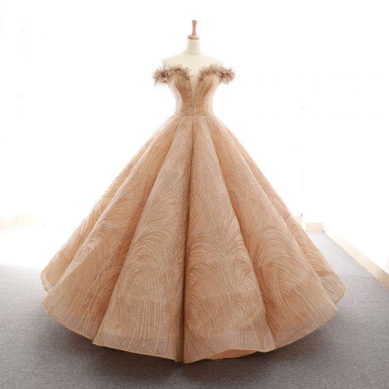 Magnífico Oro Bailando Vestidos de gala 2020 Ball Gown Fuera Del Hombro Transparentes V-cuello Profundo Manga Corta Apliques Con Encaje Lentejuelas Largos Ruffle Sin Espalda Vestidos Formales