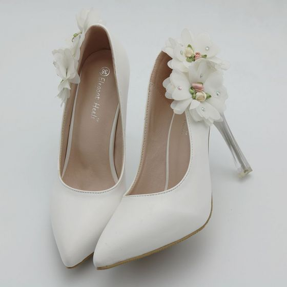 Chic / Beautiful White Dating Pumps 2018 Appliques 9 cm Stiletto Heels Pointed Toe Pumps