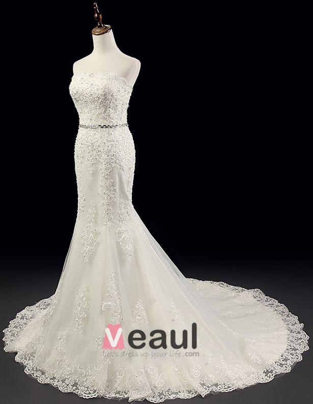 2015 Charming Mermaid Beading Appliques Crystal Sash Wedding Dress Bridal Gown