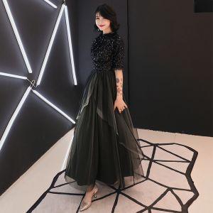 Eleganckie Czarne Sukienki Wieczorowe 2019 Princessa Wycięciem 1/2 Rękawy Cekinami Cekiny Długość Kostki Wzburzyć Sukienki Wizytowe