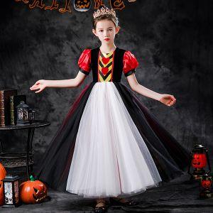 Halloween Cosplay Multi-Kleuren Bloemenmeisjes Jurken 2020 Prinses Ronde Hals Afneembaar Gezwollen 3/4 Mouwen Enkellange Ruche