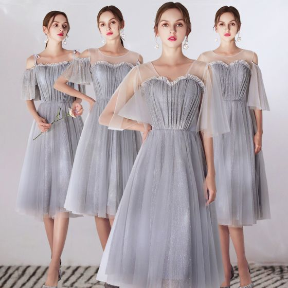 Affordable Grey Bridesmaid Dresses 2019 A-Line / Princess Glitter Tulle Tea-length Ruffle Backless Wedding Party Dresses