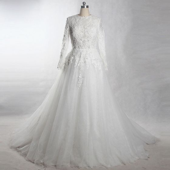 Luxury / Gorgeous White Chapel Train Wedding 2018 A-Line / Princess Long Sleeve Tulle Lace-up Beading Appliques Pearl Pierced Wedding Dresses
