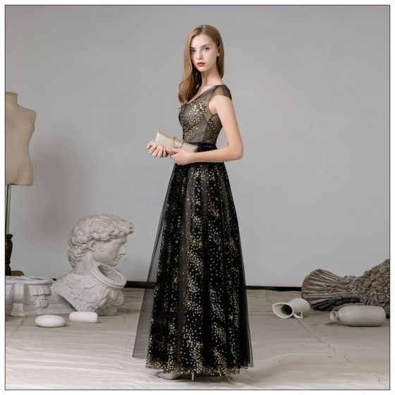 Fabulous Black Gold Evening Dresses  2020 A-Line / Princess V-Neck Sleeveless Star Lace Sequins Floor-Length / Long Evening Party Formal Dresses