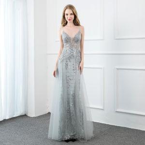 Illusion Grey See-through Evening Dresses  2020 A-Line / Princess Spaghetti Straps Sleeveless Sequins Rhinestone Beading Floor-Length / Long Ruffle Backless Formal Dresses