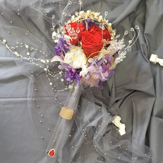 Romántico Atractivo Multi-Colors Ramos de novia 2020 Hecho a mano Tul Metal Rebordear Crystal Flor Perla Boda Boda Gala Accesorios
