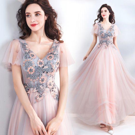4818b0e54 Elegant Pearl Pink Evening Dresses 2019 A-Line   Princess V-Neck Short  Sleeve Appliques Lace Beading ...