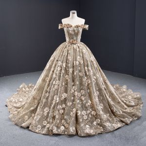 High-end Khaki Prom Dresses 2020 Ball Gown Off-The-Shoulder Handmade  Beading Pearl Sequins Lace Flower Sleeveless Backless Royal Train Formal Dresses