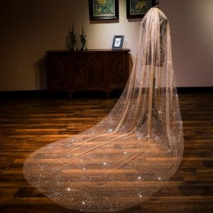 Sparkly Bling Bling Champagne 3 m Cathedral Train Wedding Beading Sequins Tulle Wedding Veils 2018