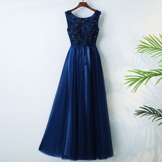 Chic / Beautiful Royal Blue Evening Dresses  2017 A-Line / Princess Scoop Neck Sleeveless Crossed Straps Appliques Beading Flower Lace Tulle Tea-length Evening Party