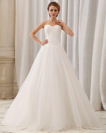 Elegant Fast Skiktning Axelbandslos Dragkedja Bak Domstol Train A-line Satin Chiffong Brudklänningar Bröllopsklänningar
