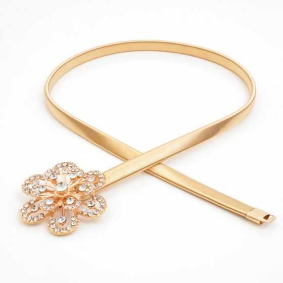 Modest / Simple Gold Evening Party Belt 2020 Metal Beading Flower Rhinestone Homecoming Cocktail Party Accessories