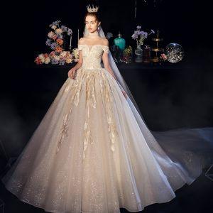 Bling Bling Szampan Suknie Ślubne 2019 Princessa Przy Ramieniu Kótkie Rękawy Bez Pleców Aplikacje Z Koronki Cekinami Tiulowe Trenem Katedra Wzburzyć