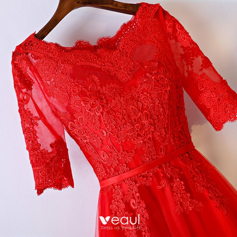 Chic / Beautiful Red Formal Dresses Evening Dresses  2017 Lace Flower Strappy Zipper Up Ankle Length Scoop Neck 1/2 Sleeves A-Line / Princess