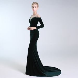 Elegant Dark Green Evening Dresses  2019 A-Line / Princess Scoop Neck Suede Crystal Sequins Long Sleeve Sweep Train Formal Dresses
