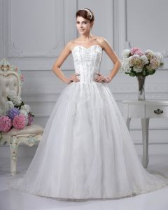 Spets Applikationer Armlos Satin Sweetheart Katedralen Tag Balklänning Brudklänningar Bröllopsklänningar