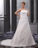Elegant Chiffon Strapless Court A-line Bridal Plus Size Wedding Dress