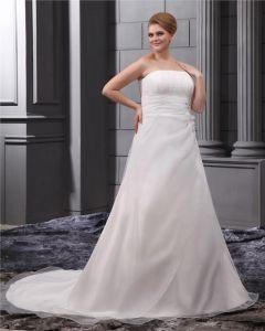 Elegant Chiffon Strapless Court A-line Bridal Plus Size Wedding Dress