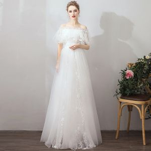 Affordable Ivory Outdoor / Garden Wedding Dresses 2019 A-Line / Princess Off-The-Shoulder Short Sleeve Backless Star Appliques Lace Floor-Length / Long Ruffle