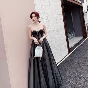 Charming Black Evening Dresses  2019 A-Line / Princess Strapless Rhinestone Sleeveless Backless Floor-Length / Long Formal Dresses