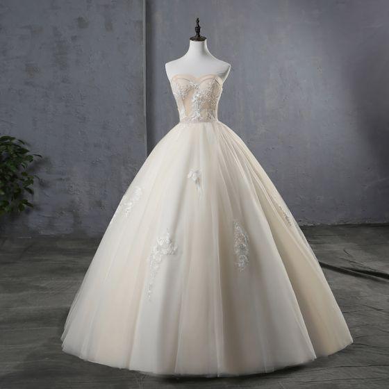 Elegant Champagne Wedding Dresses 2019 Ball Gown Strapless Lace Flower Sleeveless Backless Floor-Length / Long