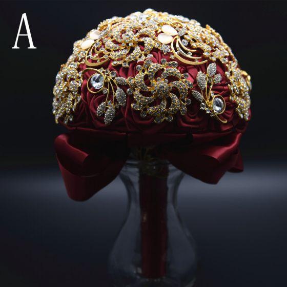 Mode Rot Metall Hochzeit Blumen 2019 Perlenstickerei Kristall Strass Brautstrauß