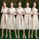 Affordable Champagne Lace Bridesmaid Dresses 2019 A-Line / Princess Sash Short Ruffle Backless Wedding Party Dresses