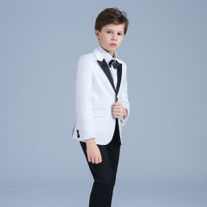 Elegant White Coat Black Pants Rhinestone Tie Boys Wedding Suits 2019