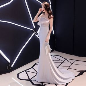 Affordable Silver Evening Dresses  2019 Trumpet / Mermaid Strapless Sleeveless Court Train Ruffle Backless Formal Dresses