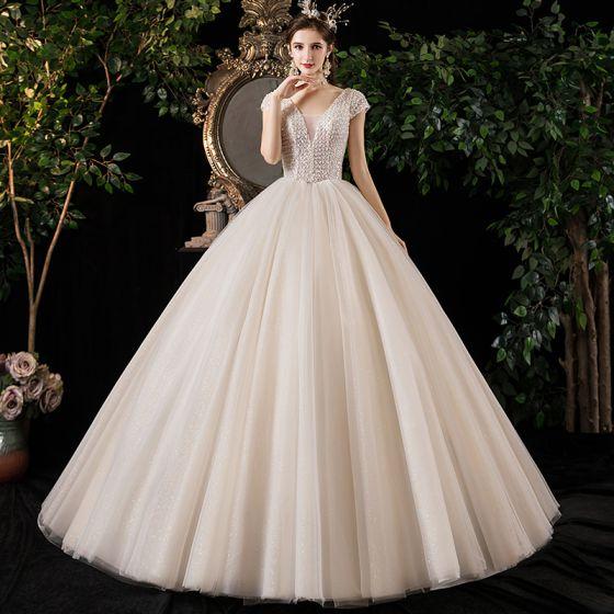 Best Champagne Outdoor / Garden Wedding Dresses 2020 Ball Gown Deep V-Neck Short Sleeve Backless Glitter Tulle Beading Floor-Length / Long