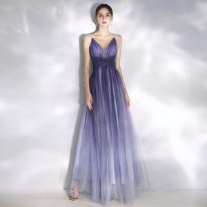 Charming Gradient-Color Purple Evening Dresses  2020 A-Line / Princess Spaghetti Straps Sequins Sleeveless Backless Floor-Length / Long Formal Dresses
