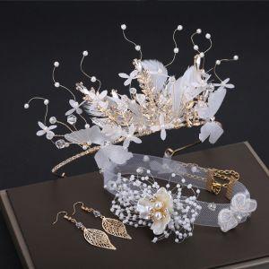 Romantisch Schön Weiß Ohrringe Kopfschmuck 2019 3 Stück Schmetterling Blatt Perle Strass Handgefertigt Hochzeit Ball Brautaccessoires