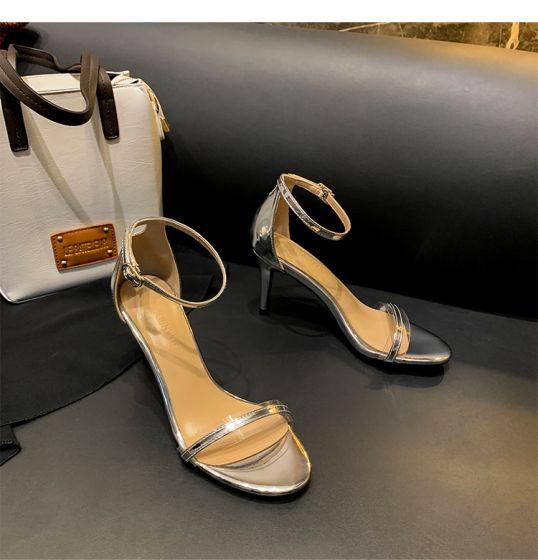Sexet Sølv Fest Sandaler Dame 2020 Ankel Strop 8 cm Stiletter Peep Toe Sandaler