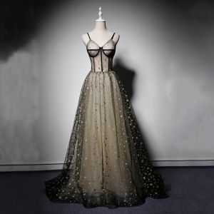 Modern / Fashion Black Prom Dresses 2019 A-Line / Princess Spaghetti Straps Sleeveless Glitter Star Floor-Length / Long Ruffle Backless Formal Dresses