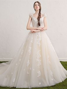 Princess Wedding Dresses 2017 Deep V-neck Applique Lace Flowers Champagne Tulle Bridal Gowns With Long Train
