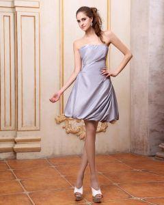 Elegante Rüschen Trägerlosen Knielangen Taft Abend Partykleid