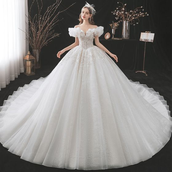 Luxury / Gorgeous Ivory Ball Gown Wedding Dresses 2021 Scoop Neck Beading Rhinestone Sequins Lace Flower Short Sleeve Backless Royal Train