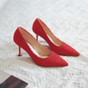 Charming Red Glitter Evening Party Pumps 2020 8 cm Stiletto Heels Pointed Toe Pumps