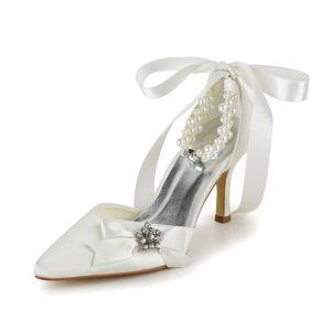 Elegant Ivory Brautschuhe Stilettos Sandalen Mit Perlenknöchelriemen