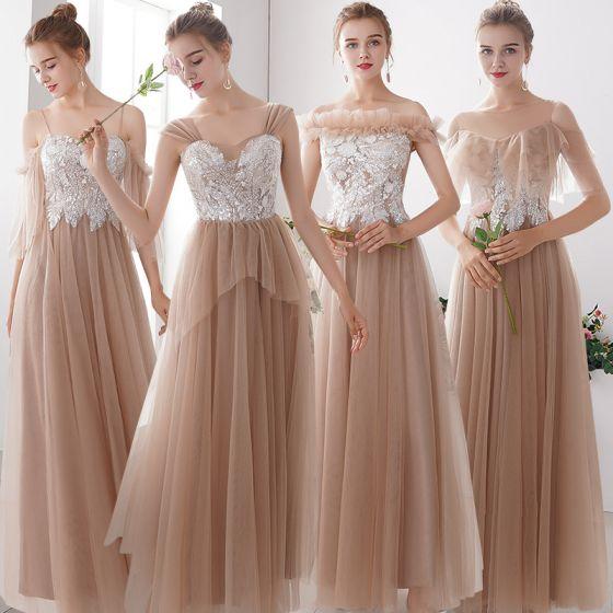 Affordable Khaki Bridesmaid Dresses 2019 A-Line / Princess Appliques Lace Sequins Floor-Length / Long Ruffle Wedding Party Dresses