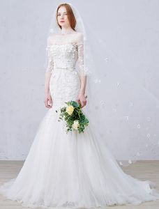 2016 Sirène Magnifique Fleurs Encolure Carrée Appliques De Dentelle Robe De Mariée Avec Ceinture