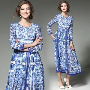 Mode Königliches Blau Chiffon Maxikleider 2018 Rundhalsausschnitt Lange Ärmel Drucken Blumen Wadenlang Damenbekleidung