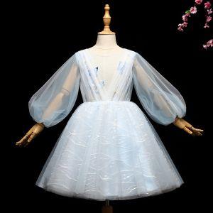 Chic / Belle Bleu Ciel Robe Ceremonie Fille 2017 Robe Boule Appliques Encolure Dégagée Courte Manches Longues Robe Pour Mariage