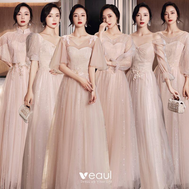 Elegante Rosa Brautjungfernkleider 2021 A Linie V Ausschnitt Spitze Blumen Kurze Armel Ruckenfreies Lange Kleider Fur
