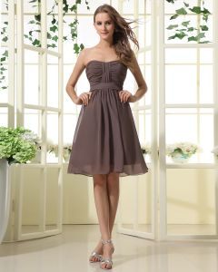 Chiffon Herzförmiger Ausschnitt Schärpe Knielange Brautjungfernkleider Trauzeugin Kleid