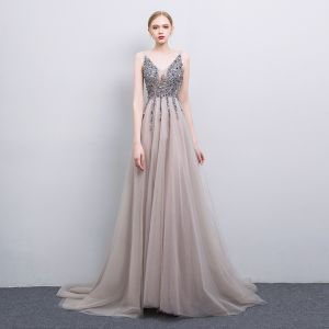 Sexy Grey Handmade  Beading Evening Dresses  2019 A-Line / Princess V-Neck Sequins Sleeveless Backless Sweep Train Formal Dresses