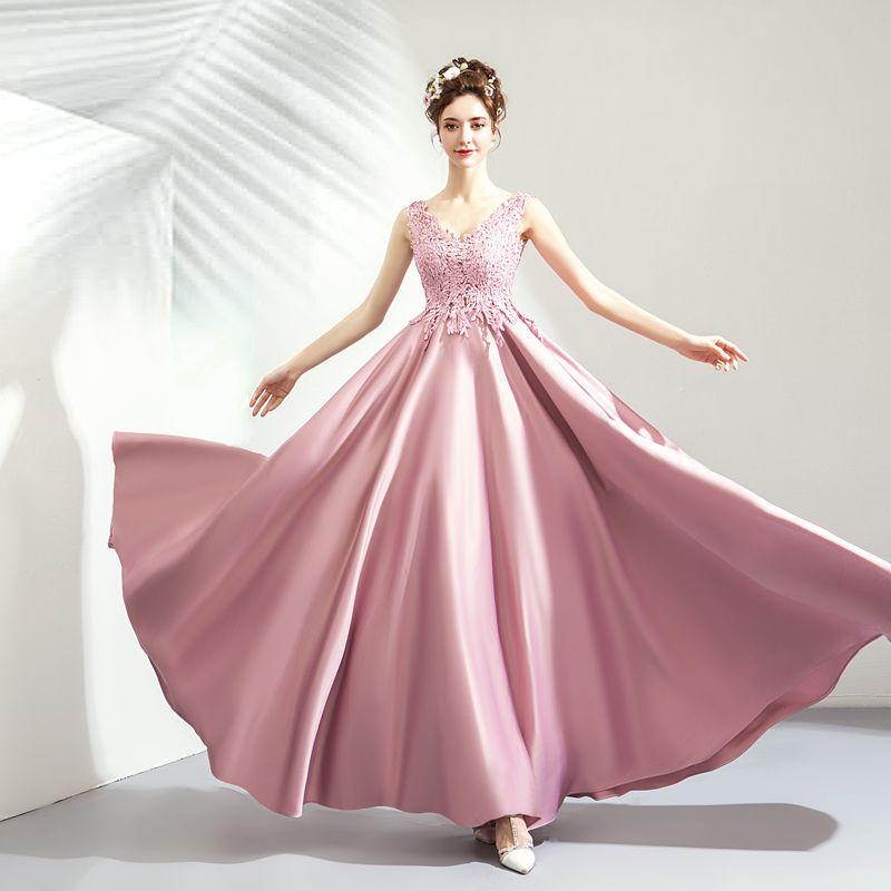 Modest / Simple Blushing Pink Prom Dresses 2019 A-Line / Princess V-Neck Lace Flower Sleeveless Backless Floor-Length / Long Formal Dresses