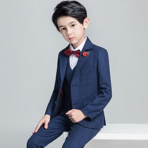 Modest / Simple Burgundy Tie Navy Blue Boys Wedding Suits 2019