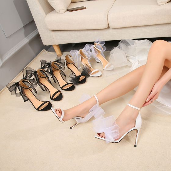 Fashion White Wedding Shoes Prom Womens Sandals 2021 Bow Wedding Ankle Strap 10 cm Stiletto Heels Open / Peep Toe Sandals High Heels